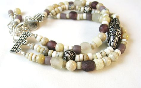 Multi Strand Bracelet African Trade Beads by JanetMiriamDesigns