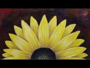 Acrylic Painting Black Eyed Susan Flower On An Abstract Background