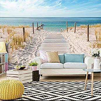 Papier Fototapete  Wand Deko Tapete Strand Meer Wasser See Wohnzimmer Wandbilder