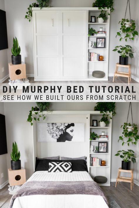 DIY Murphy Bed Plans & Our Modern DIY Murphy Bed! DIY Murphy Bed Plans & Our Modern DIY Murphy Bed!,DIY Decor DIY murphy bed tutorial, see how we built ours from scratch! Diy Furniture Easy, Diy Furniture Projects, Home Projects, Bedroom Furniture, Murphy Furniture, Diy Furniture Modern, Diy Bedroom Projects, Diy Furniture For Small Spaces, Diy Modern Bed