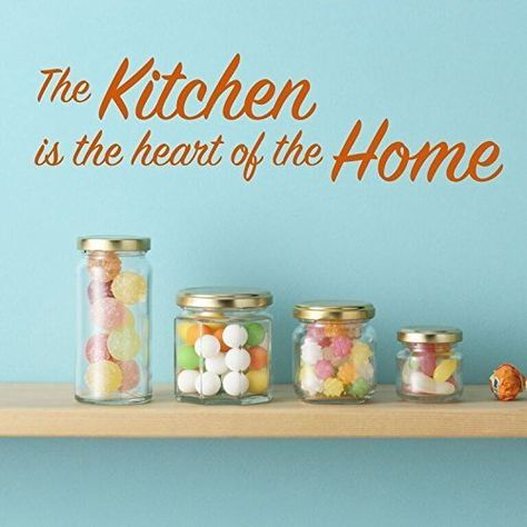 "This vinyl quotation says, ""The Kitchen is the heart of the Home"". Place this vinyl design in your kitchen to remind you about how important the kitchen is as a gathering place for family and friends."