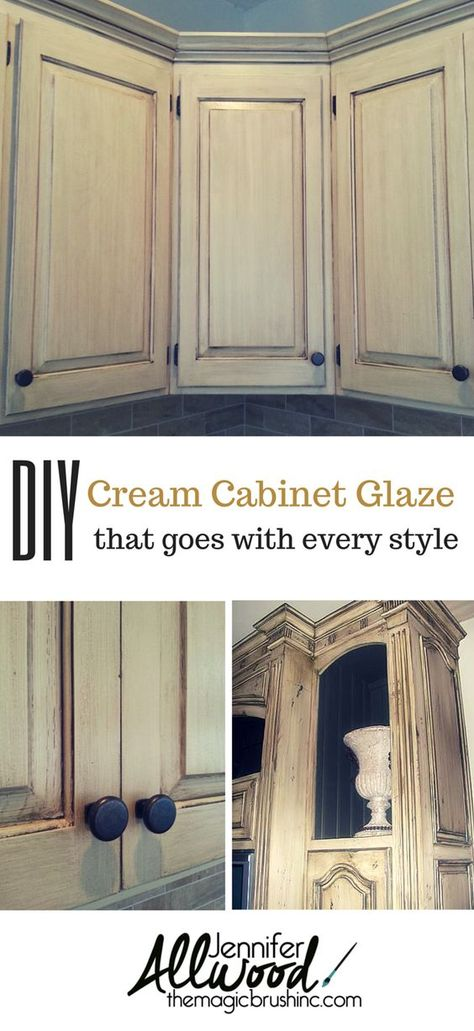 Learn To Paint A Cream Cabinet With Glaze | Cream Cabinets, Chocolate Glaze  And Glaze