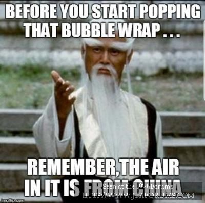 china air bubble wrap meme