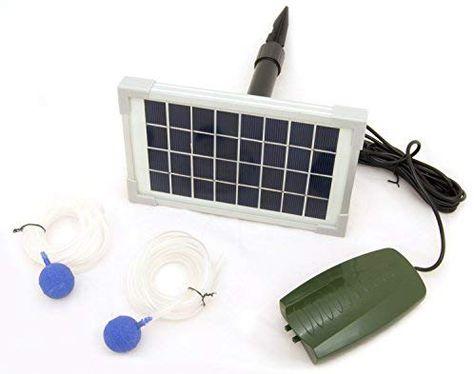 Solar Powered Oxygenator Pond Water Oxygen Pump 2-Air Stone Aerator Fish