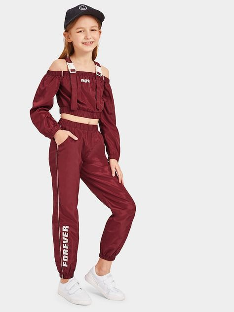 Shop Girls Push Buckle Strap Letter Top & Pants Set online Australia,SHEIN offers huge selection of Girls Two-piece Outfits more to fit your fashionable needs.