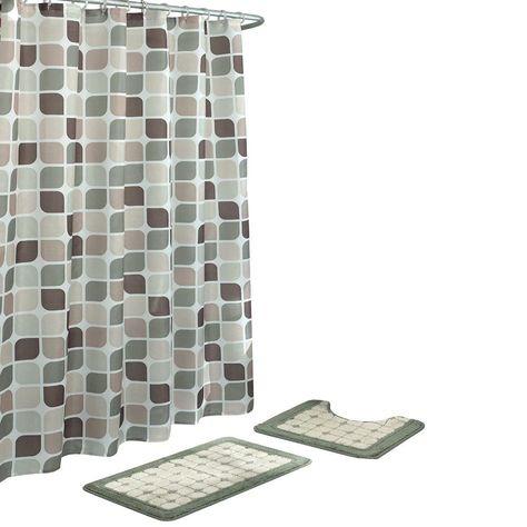 Bath Fusion Zaragoza Sage Berber 15 Piece Bath Rug And Shower Curtain Set Shower Curtain Sets Shower Set Fabric