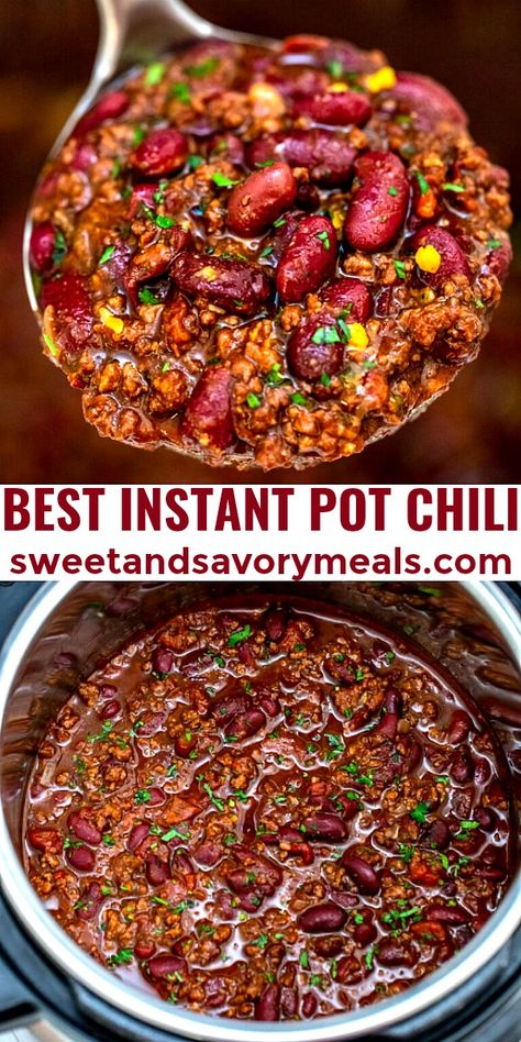 Instant Pot Chili is the best and one of the easiest meals you can make in your Instant Pot. #instantpot #chili #instantpotchili #dinner #sweetandsavorymeals