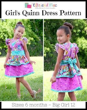 Girl S Quinn Dress Pattern Ellie And Mac Digital Pdf Sewing