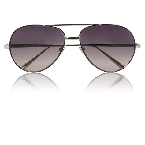 Linda Farrow Luxe '128' Black/White Gold Aviator Sunglasses ($685) ❤ liked on Polyvore featuring accessories, eyewear, sunglasses, glasses, shades, gold glasses, aviator glasses, oval sunglasses, black white sunglasses and glasses aviator