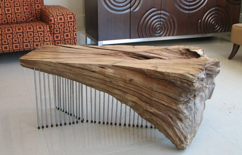 Luxe Designer Driftwood Tail Coffee Table Beach 36