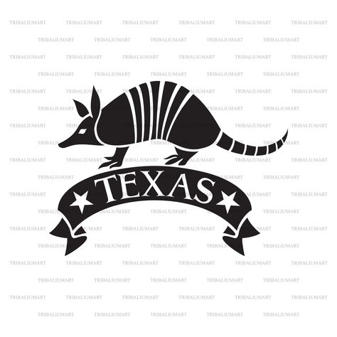 Texas design with armadillo animal (The Lone Star State). Cut files for Cricut. Clip Art (eps, svg, pdf, png, dxf, jpeg).