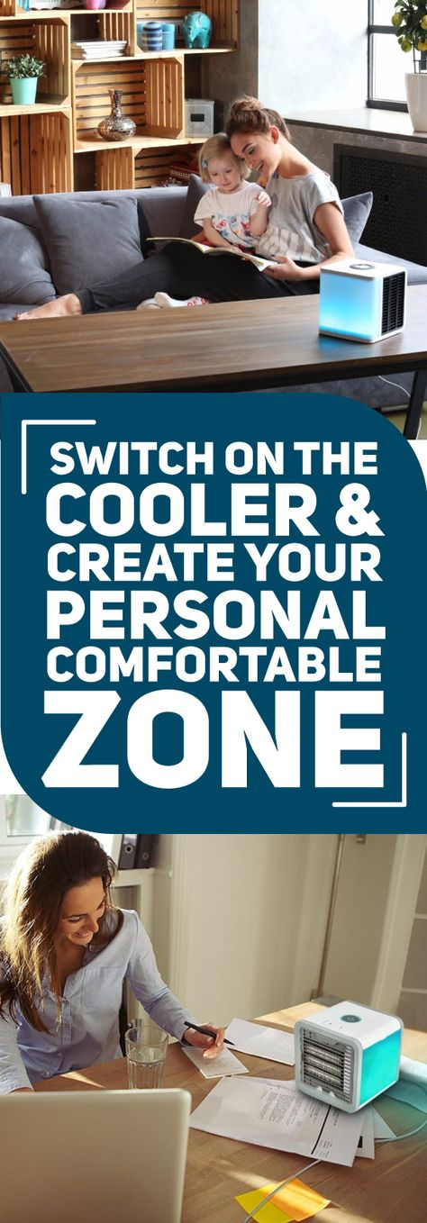 The Icy Portable Cooler combines the functions of a cooling fan, a humidifier, an air purifier, and a soothing, 7 color night light, all in one, portable, compact device. This handy air conditioning fan allows you to create your own personal comfort zone.