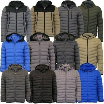 Brave Soul Mens Retro Hooded Quilted Padded Winter Puffer