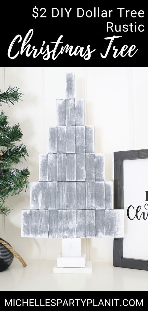 How to Make a $2 DIY Rustic Christmas Tree | Dollar Tree Project - Michelle's Party Plan-It
