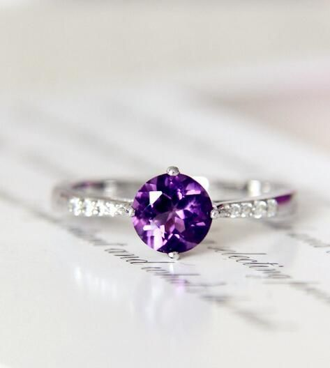 Three 3 February Birthstone Gift for Her Engagement Purple Gemstone Amethyst 14K Yellow Gold Ring Size 7 Carats Natural Solitaire