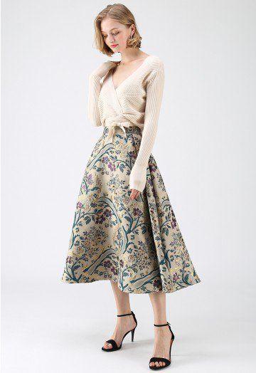 Vintage Bouquet Embroidered Midi Skirt Midi Skirt Pattern Midi Skirt Fashion