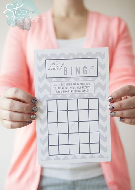 #DIYwedding ~ FREE downloads of these darling Bridal Shower Bingo cards! Print them out, cut them in half and your done!