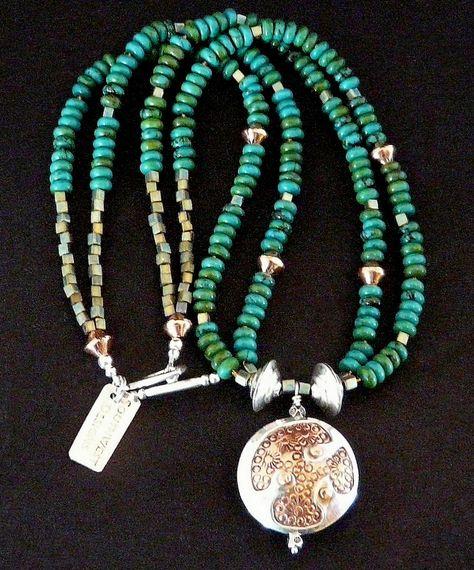 30mm Sterling and Copper 2-Sided Pendant with Two Strands of Turquoise Rondelles