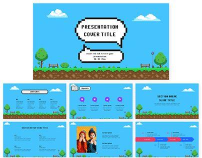Pixel Art Free Google Slides theme PowerPoint template
