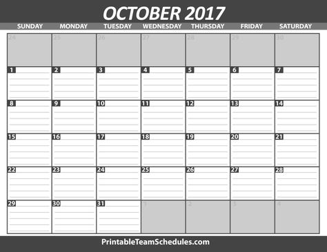October Calendar Template 2017 Print Here -   - blank roster