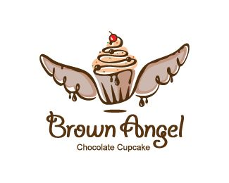 A Beautiful And Creative Logo That Combines A Cupcake And Angel