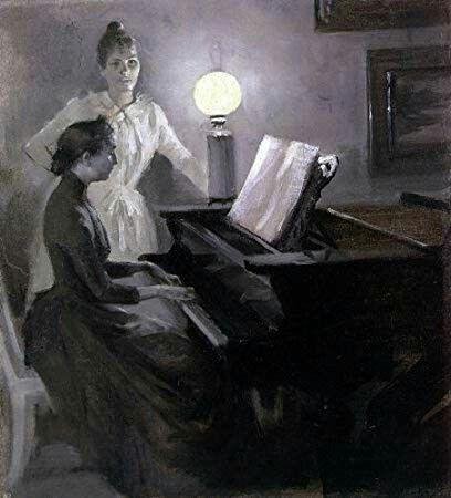 Albert Edelfelt 1854 1905 At The Piano Piano Art Painting Oil Painting Reproductions