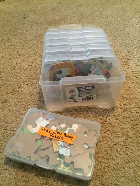 Compact Storage for Jigsaw Puzzles - The Organized Mom - - Jigsaw puzzles are a huge storage hog. Here are two solutions that will easily provide compact storage for jigsaw puzzles. Puzzle Organization, Puzzle Storage, Toy Storage, Organization Hacks, Daycare Storage, Kids Craft Storage, Board Game Storage, Paper Storage, Ikea
