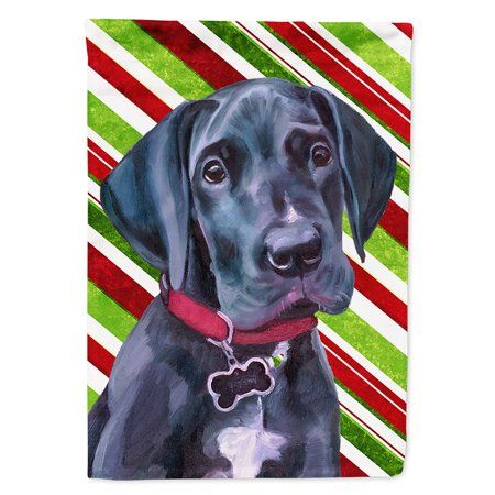 Black Great Dane Puppy Candy Cane Holiday Christmas Flag Canvas