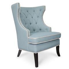 Cecilia Wingback Fabric Armchair Light Blue Armchair Fabric