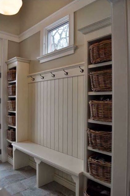 Love look for simple mid room area/. Would prefer larger baskets though like the bench