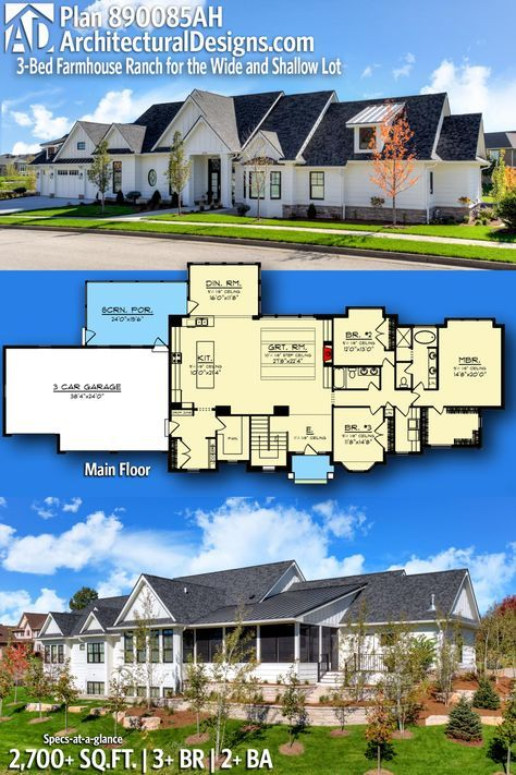 Plan 890085ah 3 Bed Farmhouse Ranch For The Wide And Shallow Lot Modern Farmhouse Plans Home Building Design Modern Farmhouse Exterior