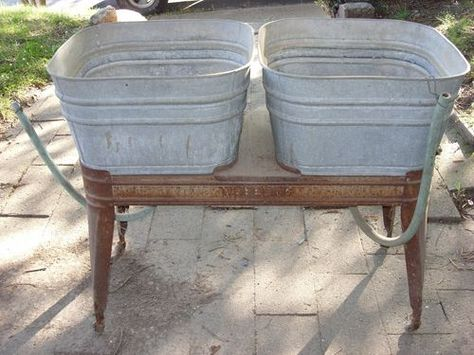 Antique Wheeling Double Galvanized Wash Tub Tubs With Stand