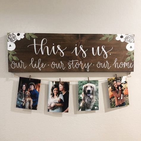 This Is Us Stained Solid Wood Sign with Photos DIY Wood Signs Photos Sign solid Stained Wood Diy Wood Signs, Rustic Wood Signs, Painted Wooden Signs, Paint Wood Signs, Wooden House Signs, Painting Signs On Wood, Family Wood Signs, Family Rules, Pallet Signs