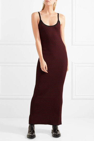 Striped Ribbed-knit Maxi Dress - Black Alexander McQueen Clearance Fast Delivery Sale Pick A Best 125ri4