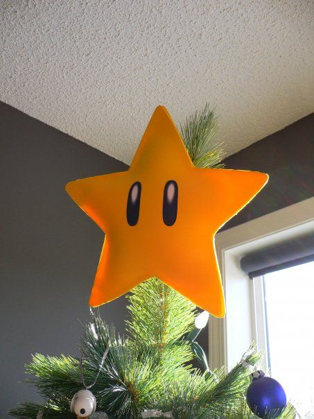 Foam Nintendo star Christmas tree topper.