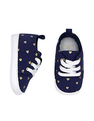 Baby Girls Navy Heart Low Top Sneaker