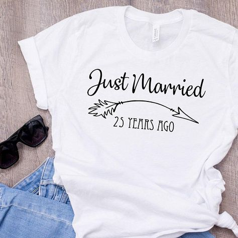 Items similar to Just Married 25 Years Ago Anniversary Gift 25 Year Wedding Anniversary Anniversary Shirt Boho T-Shirt Unisex Plus Size Also on Etsy 25 Wedding Anniversary Gifts, Anniversary Surprise, Anniversary Ideas, Anniversary Cookies, Anniversary Outfit, 20th Anniversary, Wedding Gifts, Wedding Renewal Vows, Just Married