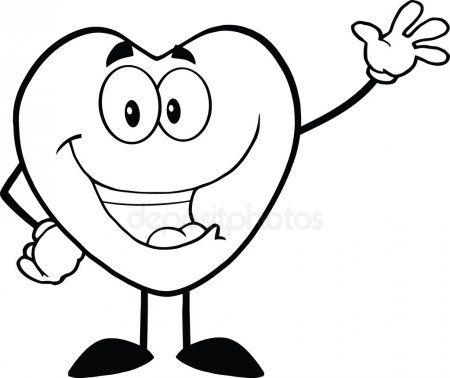 Personagem De Mascote De Desenho Preto E Branco Coracao Feliz