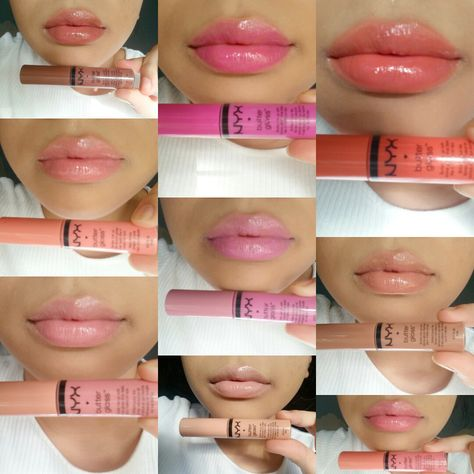NYX Butter Gloss Swatches + Bewertung - lippen contouring - Make Up Eyeliner, Nyx Eyeshadow, Dupe Makeup, Skin Makeup, Matte Lipstick, Lipsticks, Nyx Lipgloss, Beauty Makeup, Drugstore Beauty