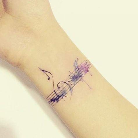 Tatouage femme Notes de musique Aquarelle sur Poignet
