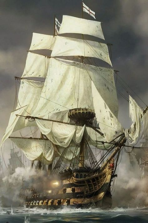 Ship of the line releasing a broadside. Artist unknown.