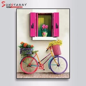 Full Round 5D DIY Diamond Painting Flowers And Bicycles Embroidery Cross Stitch Rhinestone