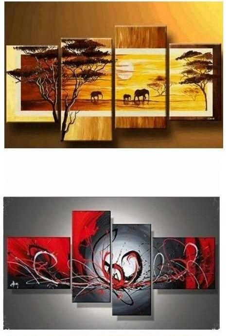 Palette Knife Painting Tree Of Life Painting Hand Painted Abstract Art 4 Piece Canvas Art Contemporary Art Modern Art Living Room Canvas Painting Large Canvas Painting Huge Wall Art