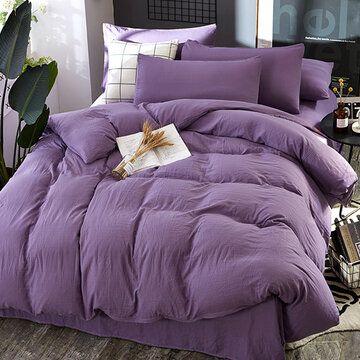 3 4 قطعة غير قابلة للطباعة لغسيل الجلد من القطن أربع قطع أطقم أغطية لحاف مفرد سرير مزدوج ثلاث قطع Bedding Sets Bed Comforters