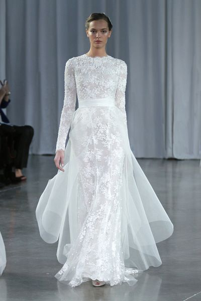 Candic silk white chantilly lace embroidered long sleeve column gown ...