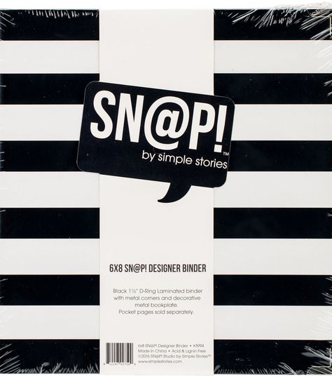 "Black Striped Designer Binder 6/"" x 8/"" Binder Stripe Simple Stories Snatp"