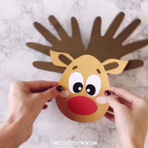 Reindeer Handprint Craft For Kids | This easy Christmas craft is perfect for in the classroom or at home and you only need a few supplies to make it!   #kidsactivities #kidscrafts #craftsforkids #christmascrafts #christmas #handprintcraft #reindeercraft #teacher #elementary #artforkids #kidsart