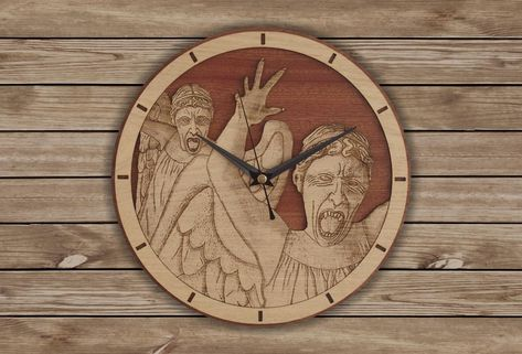 Handmade #WeepingAngels wooden clock - Doctor Who wallclock. Original and unique gift for friends. Worldwide Shipping. Available in:  www.geeksmarvels.etsy.com .  #DrWho #ChristmasGift #nerdlife #DonnaNoble