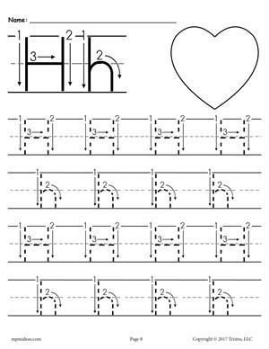 Printable Letter A Tracing Worksheet With Number And Arrow Guides Letter H Worksheets Letter H Tracing Worksheet Alphabet Tracing Worksheets Printable alphabet tracing worksheets h