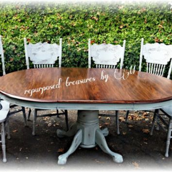 Distressed Vintage Solid Oak Repurposed Upcycled Country Cottage Shabby Chic Handpainted Chalk Paint Dining Tabl Dining Table Makeover Mahogany Dining Table